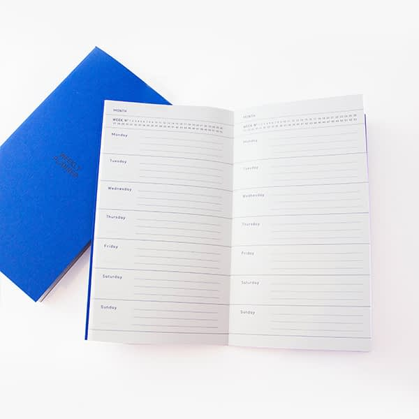 Agenda personal color azul